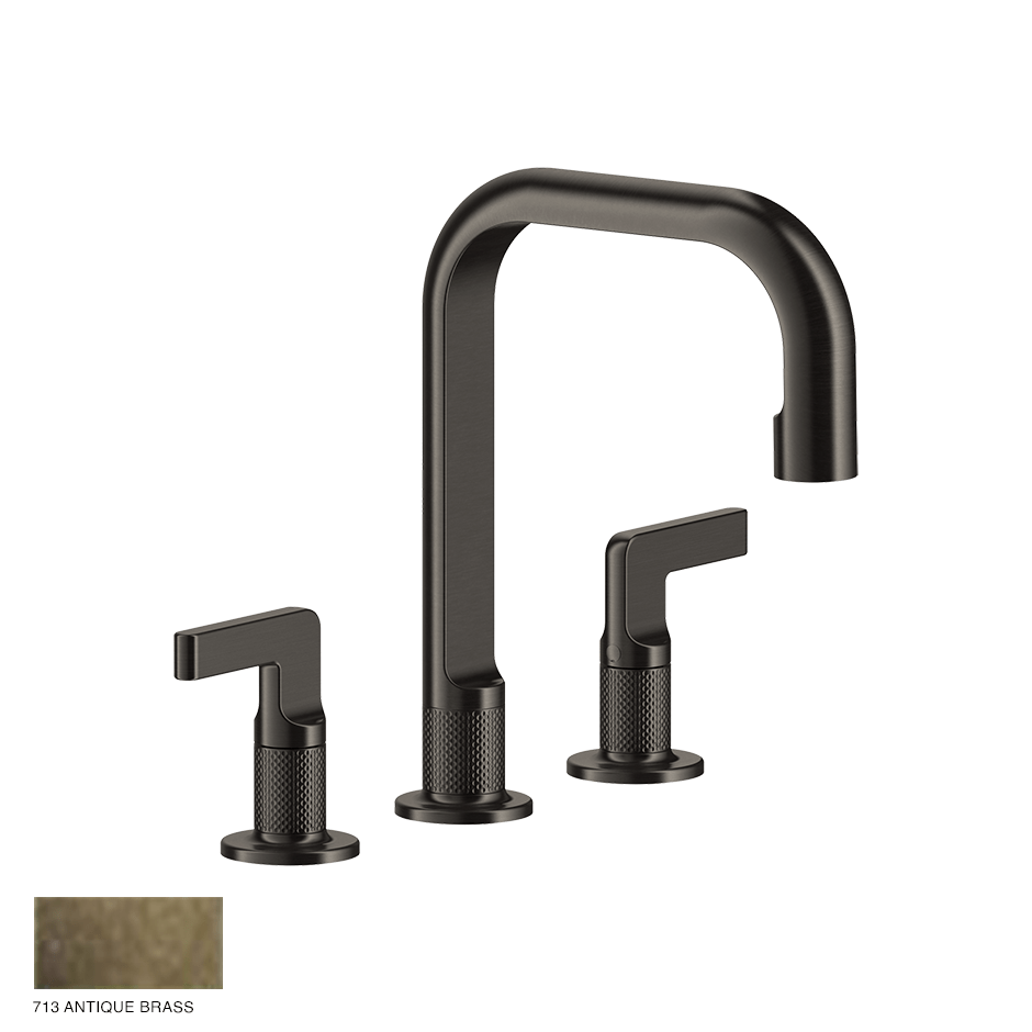 Inciso- Three-hole Basin Mixer with spout and pop-up waste 713 Antique Brass