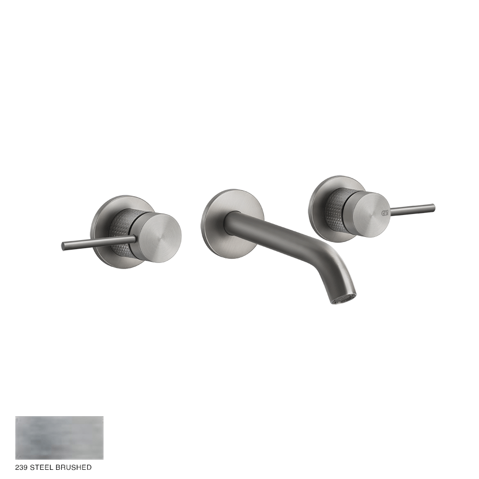 Gessi 316 Built-in Three-hole Mixer Cesello, without waste 239 Steel brushed
