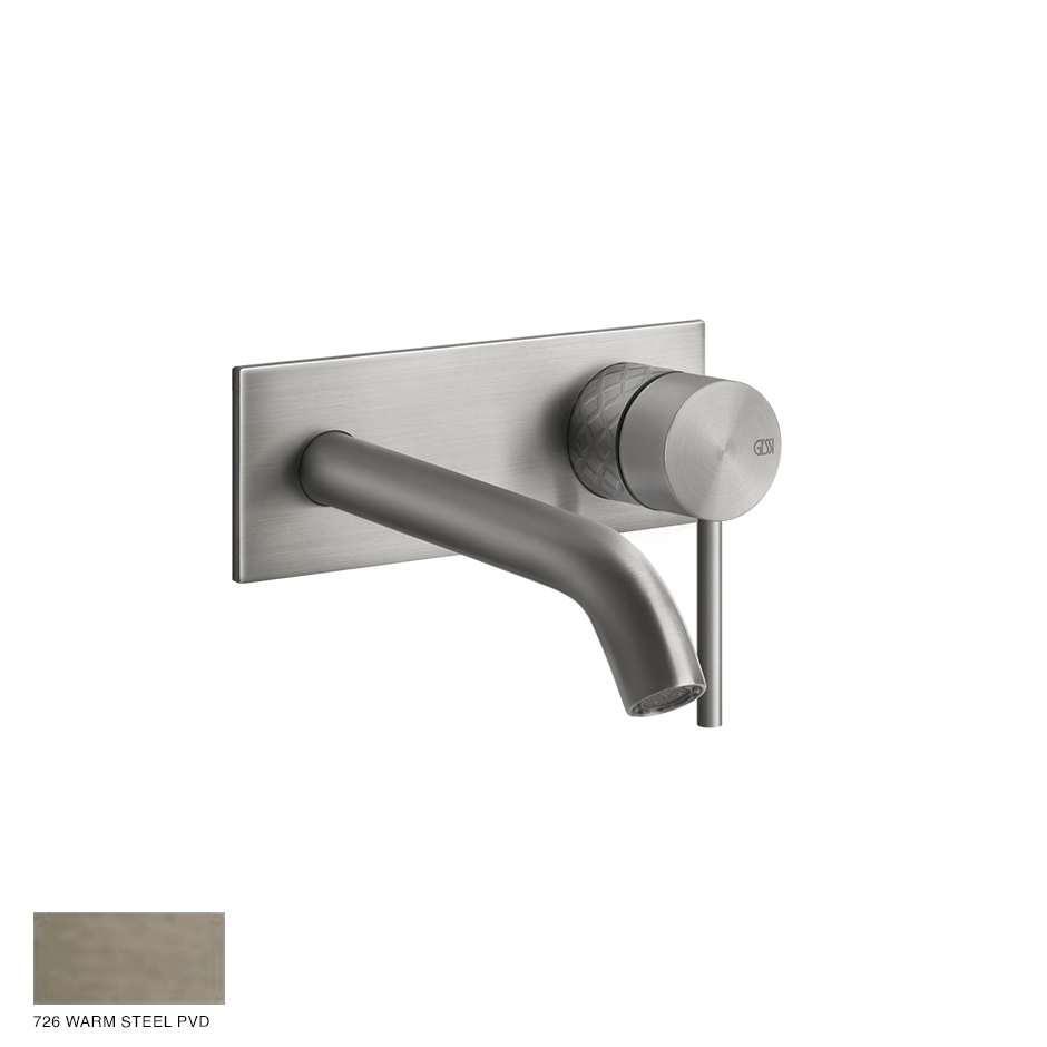 Gessi 316 Built-in Mixer with spout Intreccio, without waste 726 Warm Bronze Brushed PVD