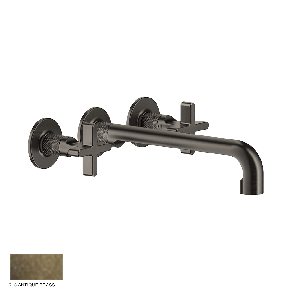 Inciso+ Three-hole Basin Mixer with spout, without waste 713 Antique Brass