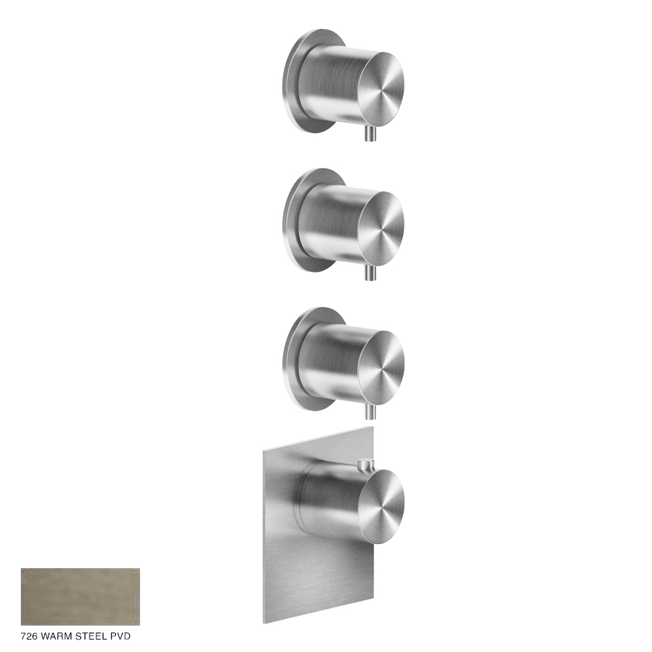 Gessi 316 Wellness Built-in mixer, three outlets 726 Warm Bronze Brushed PVD