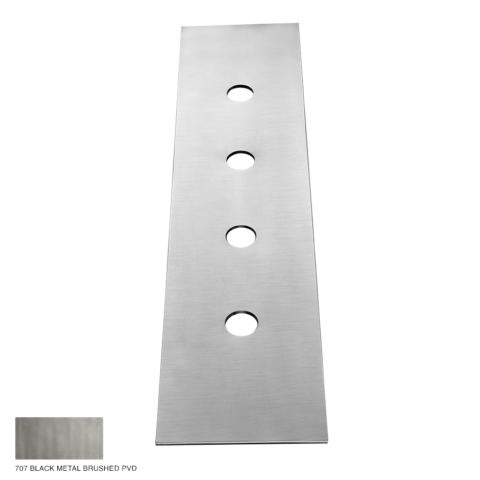 Gessi 316 Four-hole finishing plate for mounting box 707 Black Metal Brush