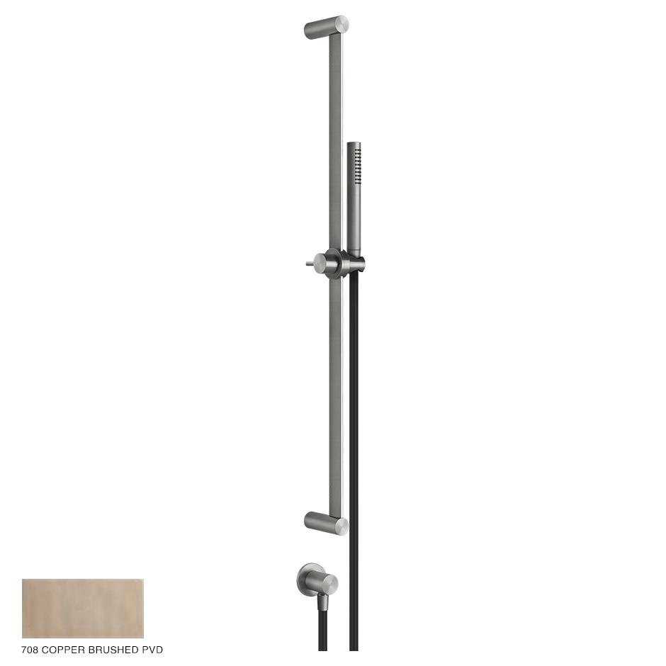Gessi 316 Sliding rail with handshower, outlet and hose 708 Copper Brushed