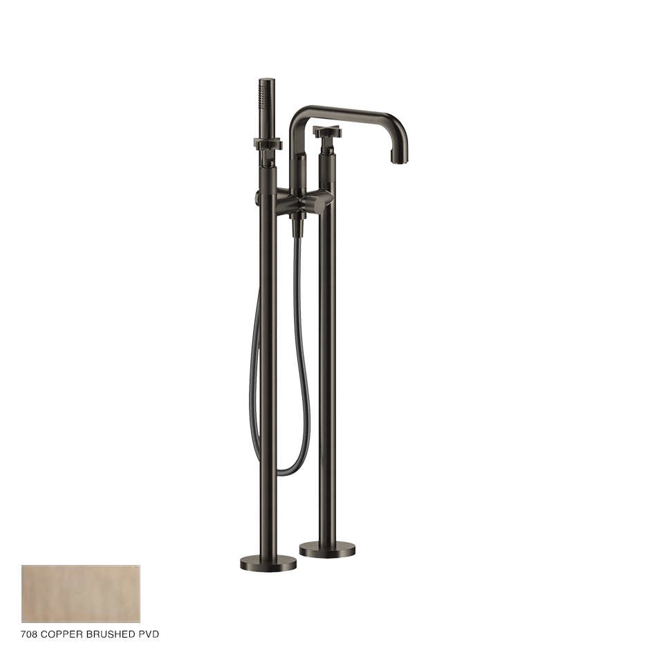 Inciso+ Freestanding External Bath Mixer with handshower 708 Copper Brushed PVD