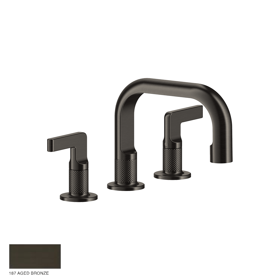 Inciso- Three-hole Basin Mixer with spout and pop-up waste 187 Aged Bronze