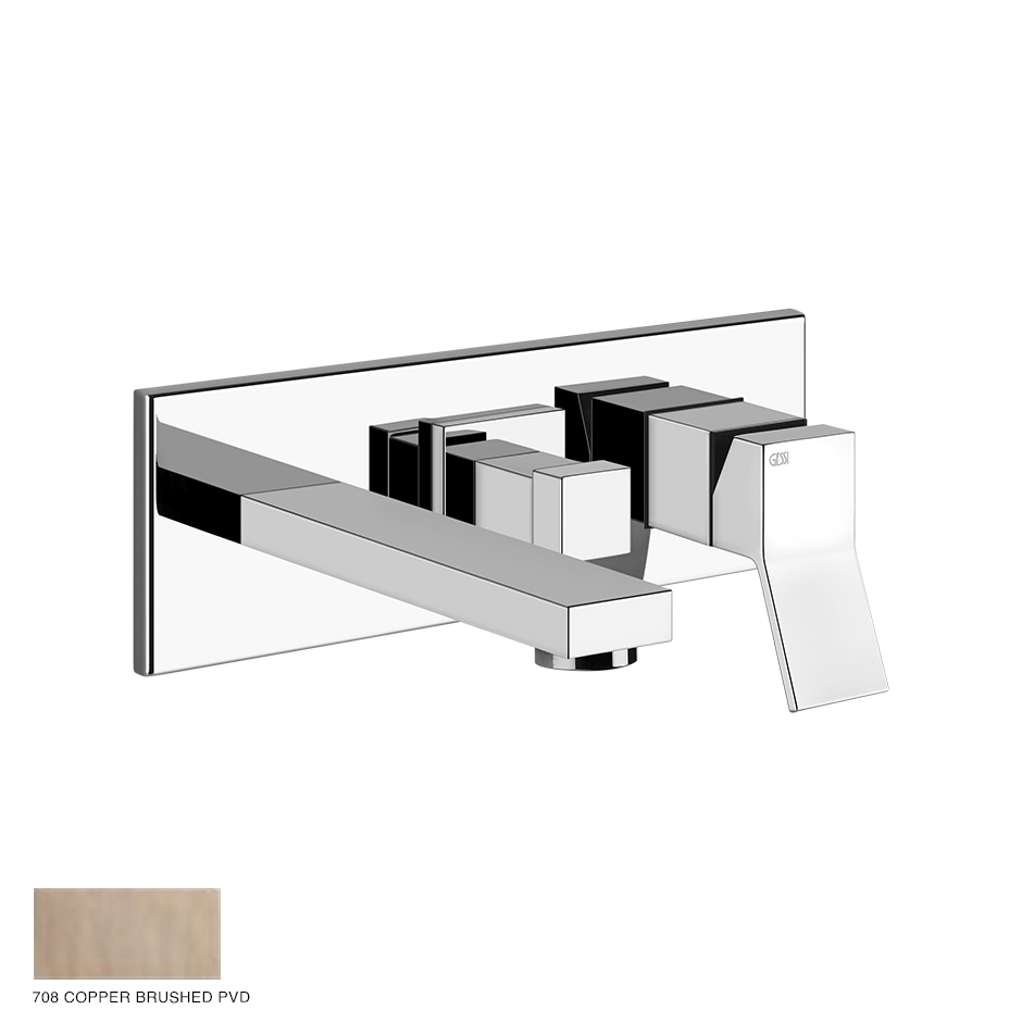 Rettangolo Shower Mixer, two-way, with spout and diverter 708 Copper Brushed PVD