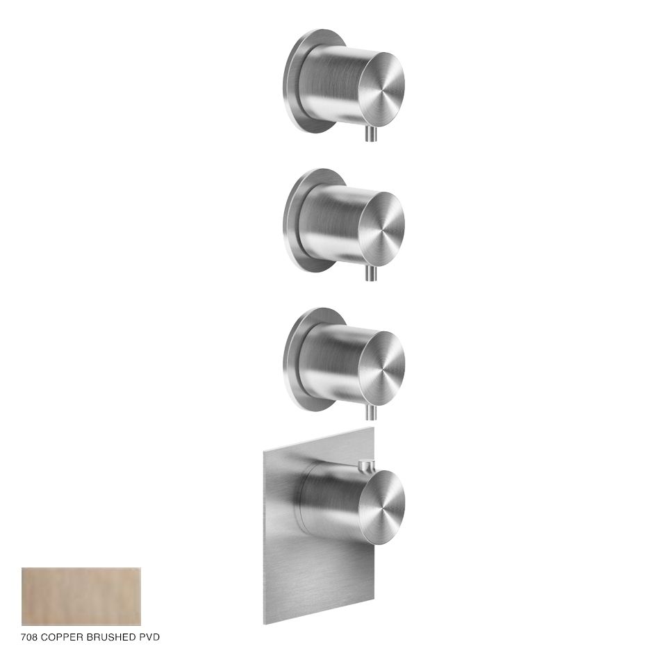 Gessi 316 Wellness Built-in mixer, three outlets 708 Copper Brushed PVD