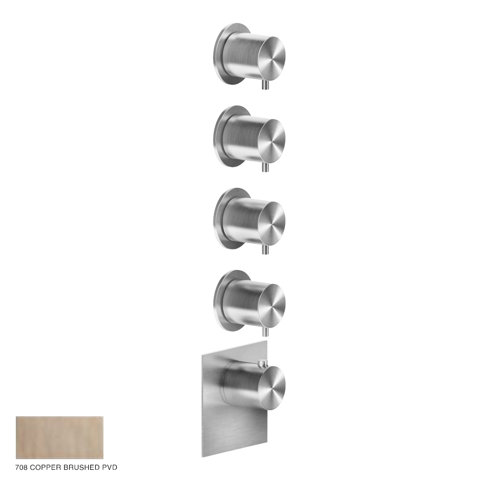 Gessi 316 Wellness Built-in mixer, four outlets 708 Copper Brushed PVD
