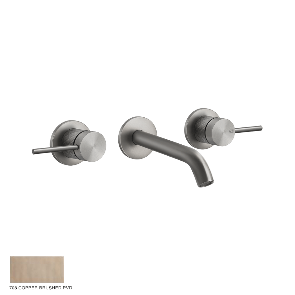 Gessi 316 Built-in Three-hole Mixer Intreccio, without waste 708 Copper Brushed