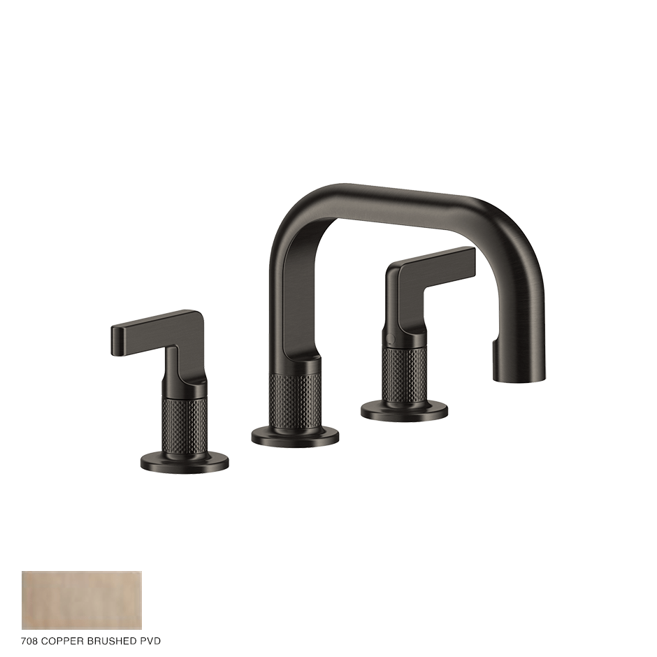 Inciso- Three-hole Basin Mixer with spout and pop-up waste 708 Copper Brushed
