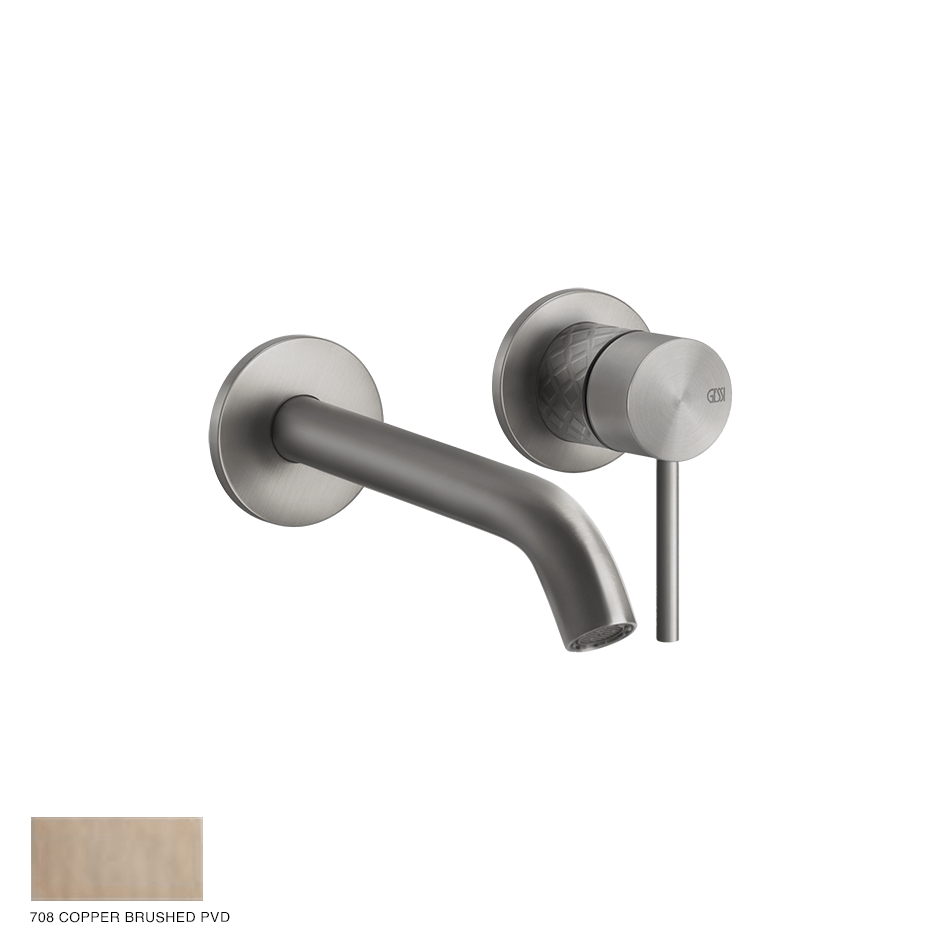 Gessi 316 Built-in Mixer with spout Intreccio, without waste 708 Copper Brushed