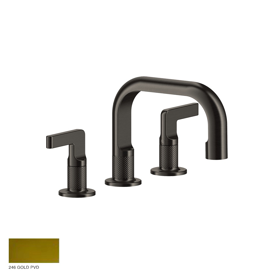 Inciso- Three-hole Basin Mixer with spout, without waste 246 Gold PVD