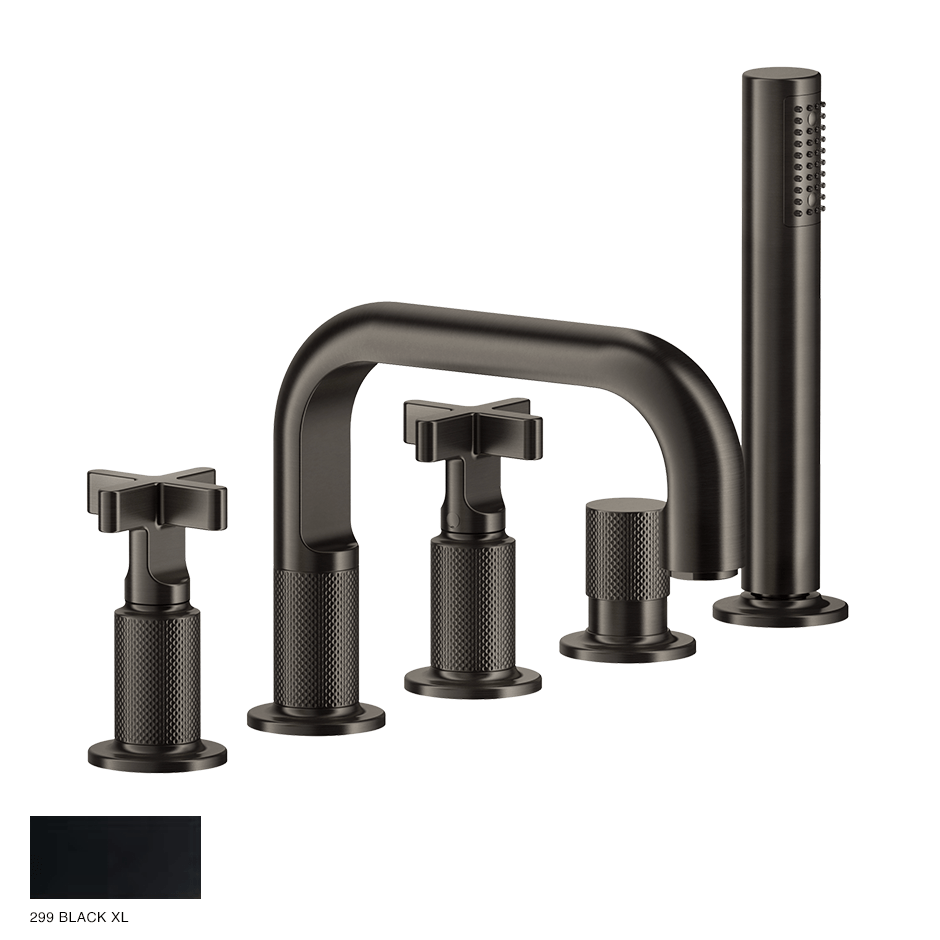 Inciso+ Five-hole Bath Mixer with diverter and handshower 299 Black XL