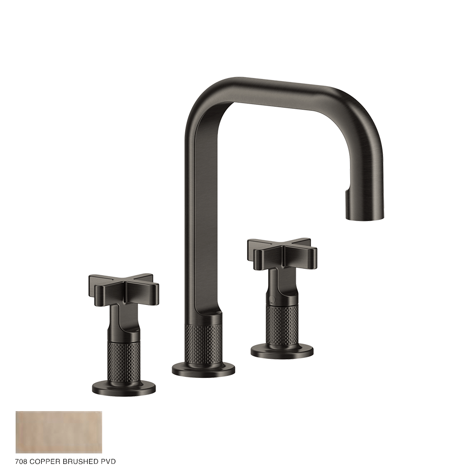 Inciso+ Three-hole Basin Mixer with spout and pop-up waste 708 Copper Brushed