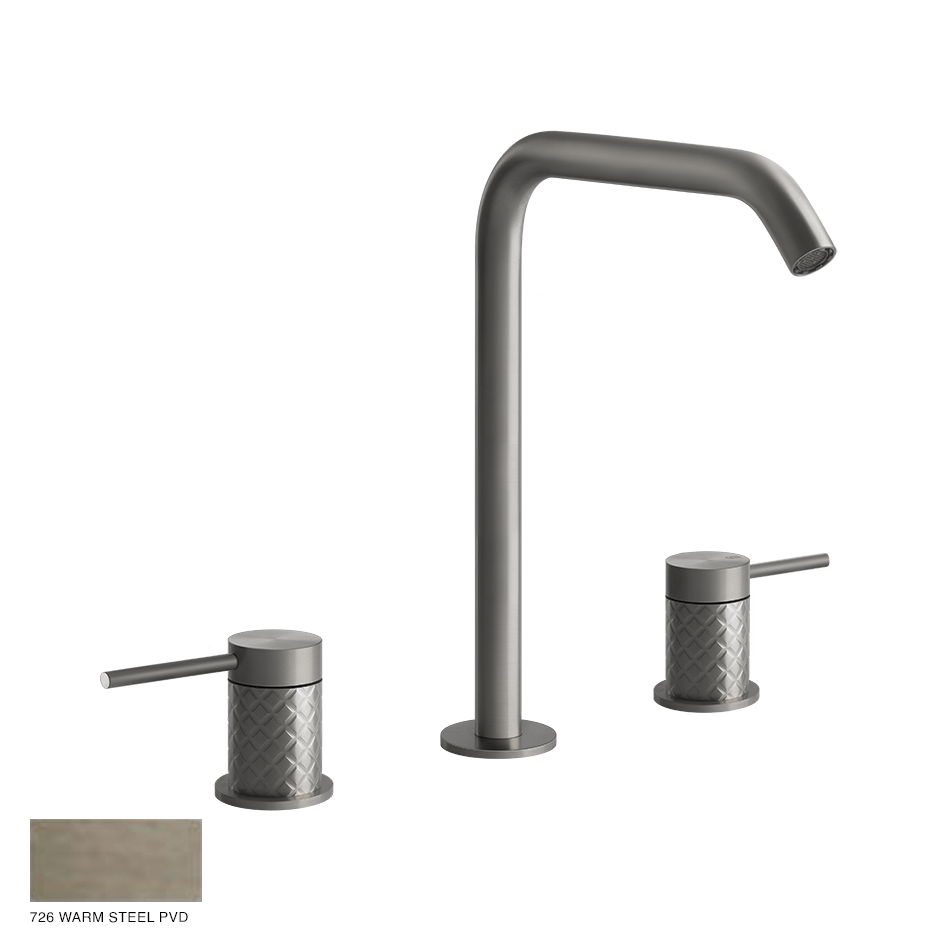 Gessi 316 Three-hole Basin Mixer Intreccio, without waste 726 Warm Bronze Brushed PVD