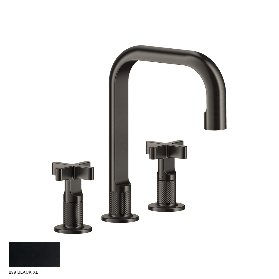 Inciso+ Three-hole Basin Mixer with spout, without waste 299 Black XL