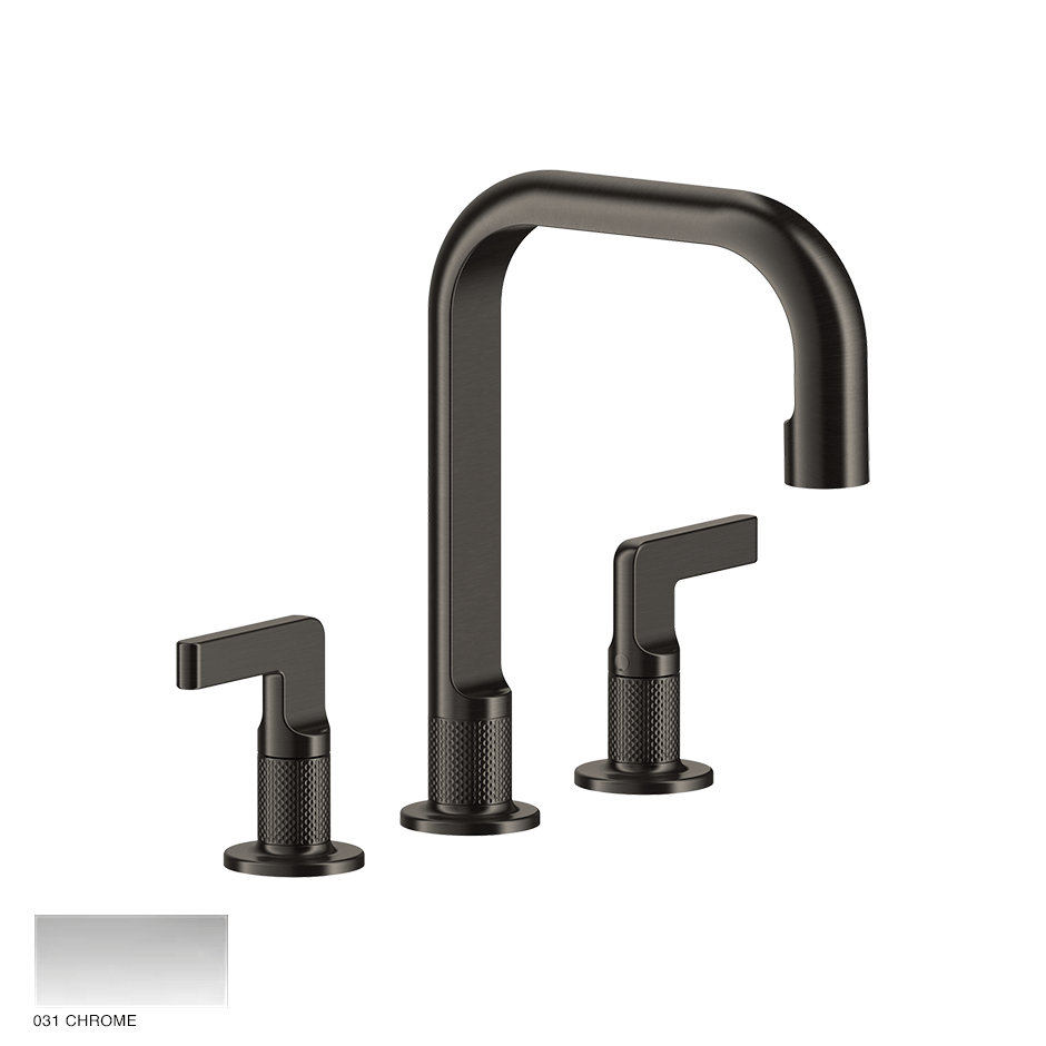 Inciso- Three-hole Basin Mixer with spout and pop-up waste 031 Chrome