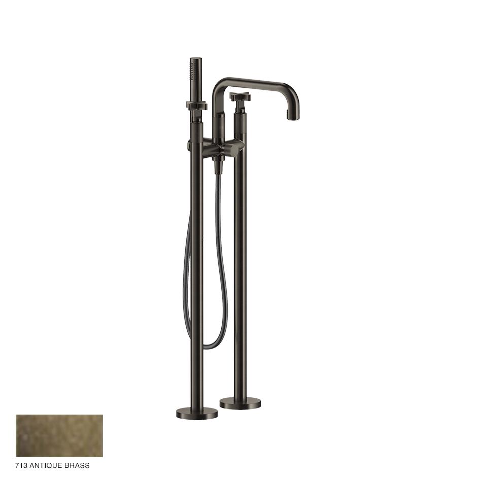 Inciso+ Freestanding External Bath Mixer with handshower 713 Antique Brass