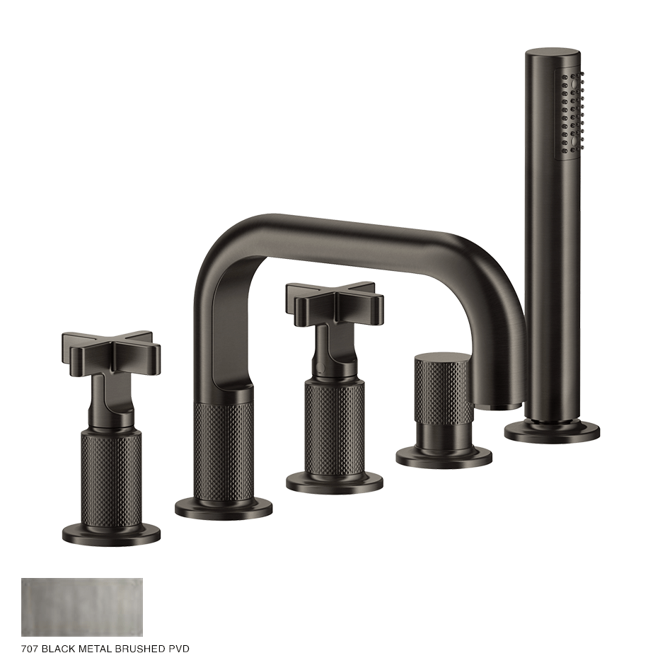 Inciso+ Five-hole Bath Mixer with diverter and handshower 707 Black Metal Brush