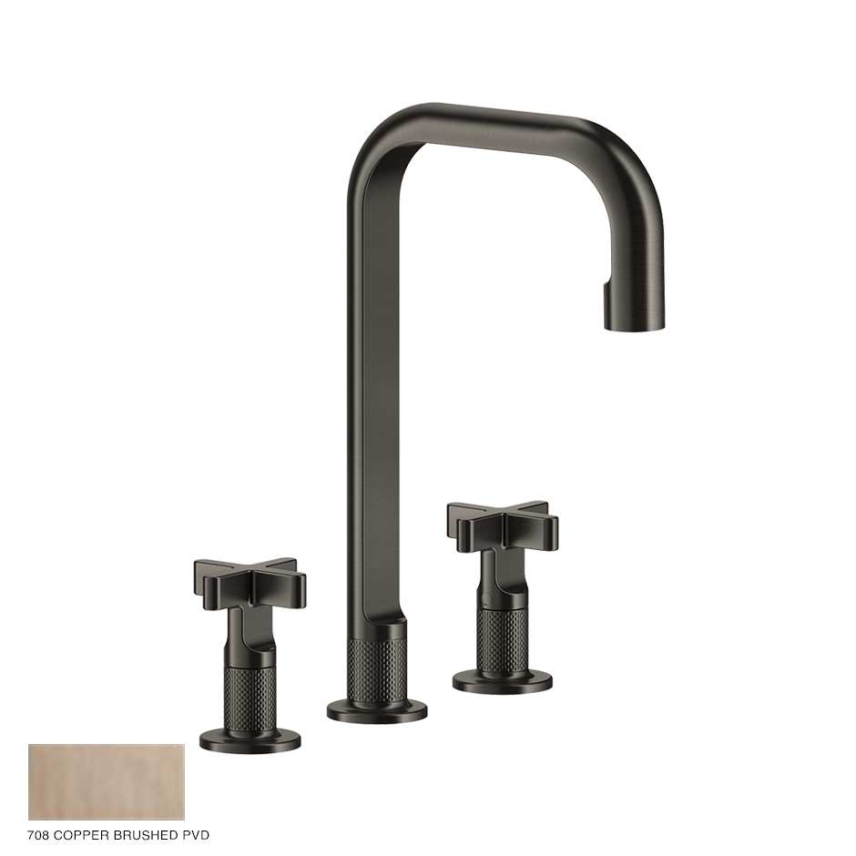 Inciso+ Three-hole Basin Mixer with spout, without waste 708 Copper Brushed PVD