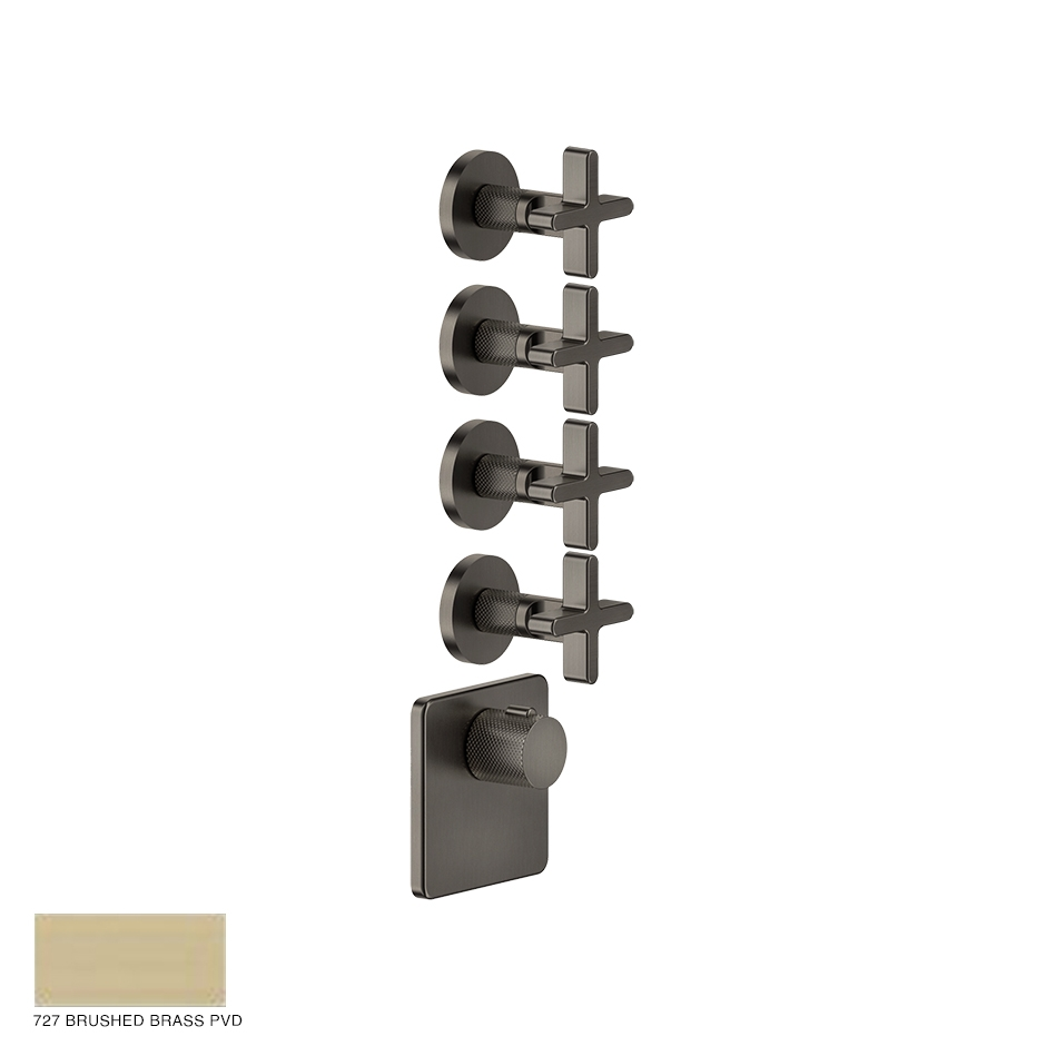 Inciso Wellness Built-in mixer, four outlets 727 Brushed Brass PVD