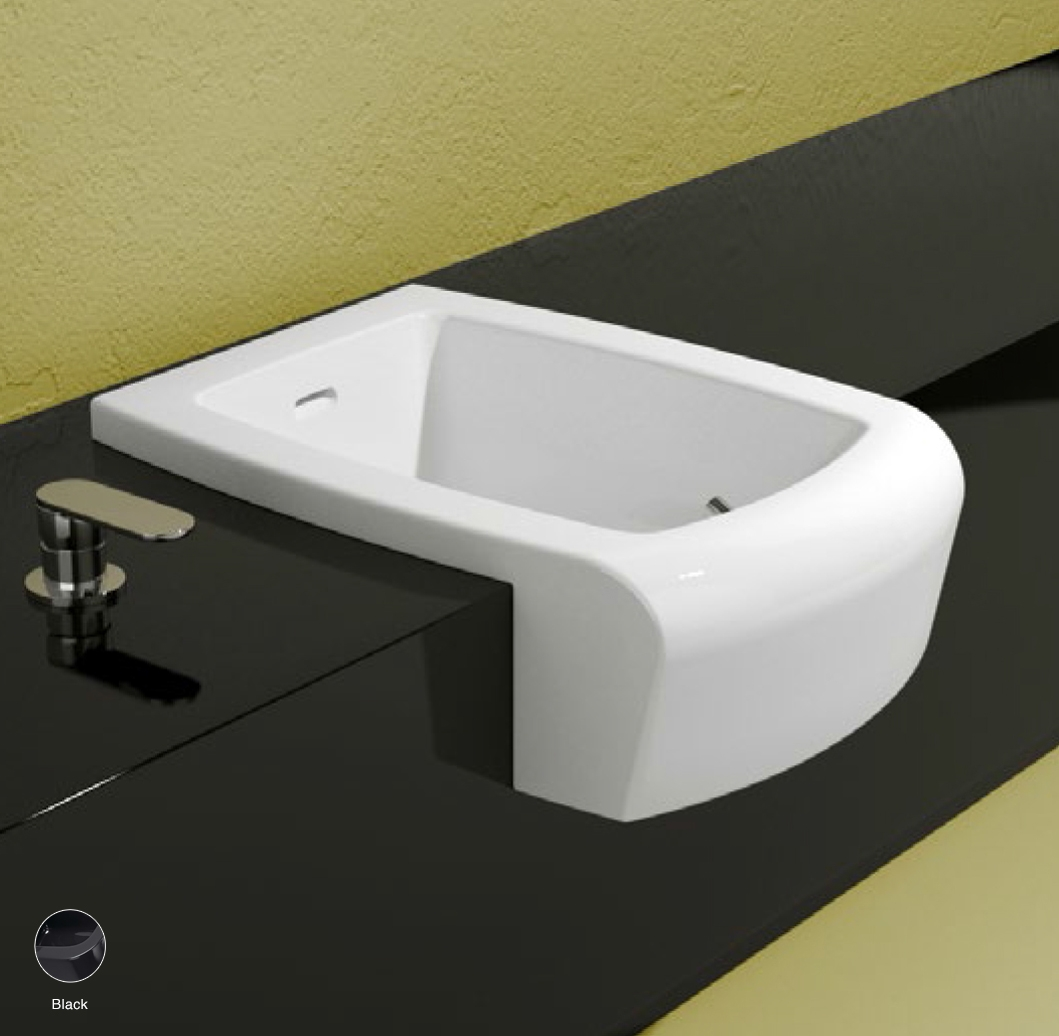 Una Semi-inset bidet with overflow, without tap ledge Black