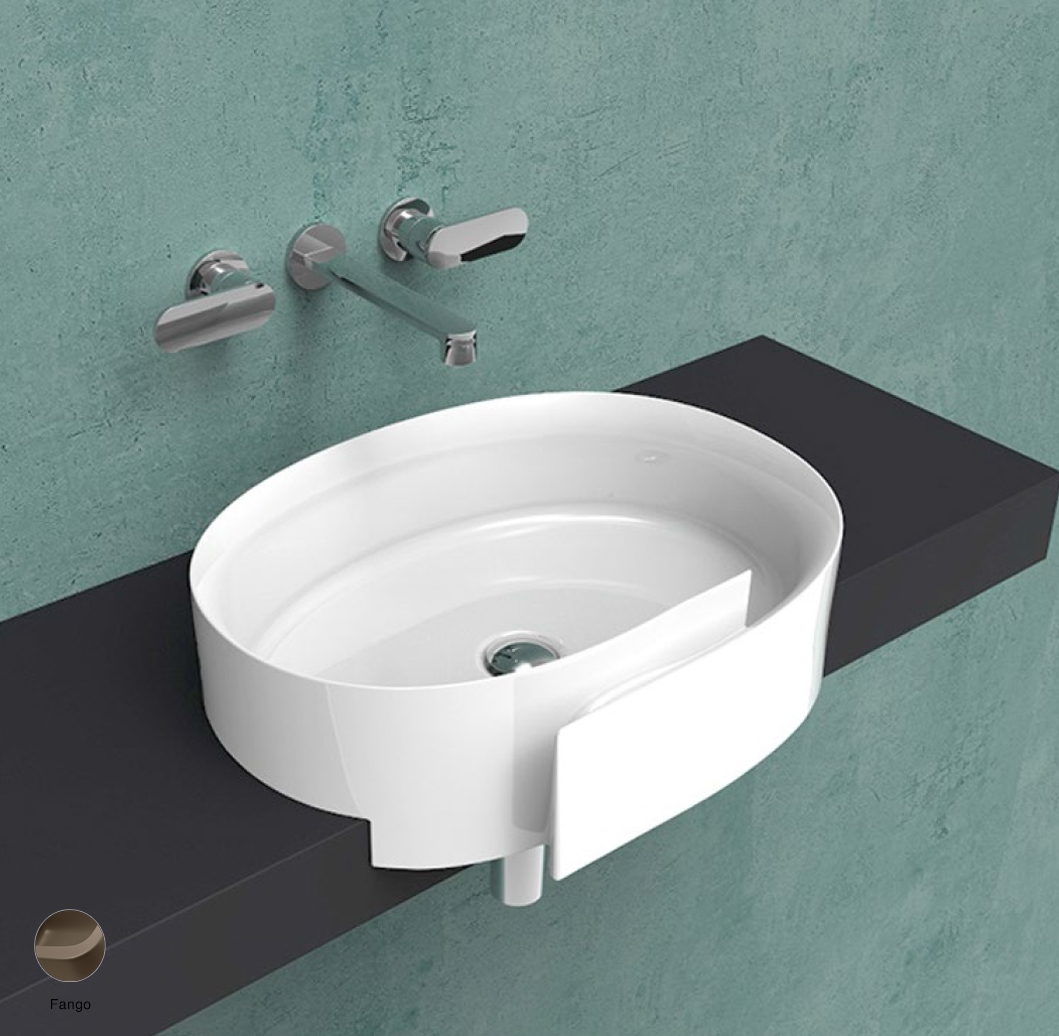 Roll Semi-inset basin 56 cm without overflow, without tap ledge Fango