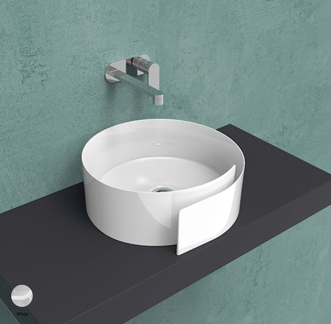 Roll Countertop basin 44 cm without overflow, without tap ledge White