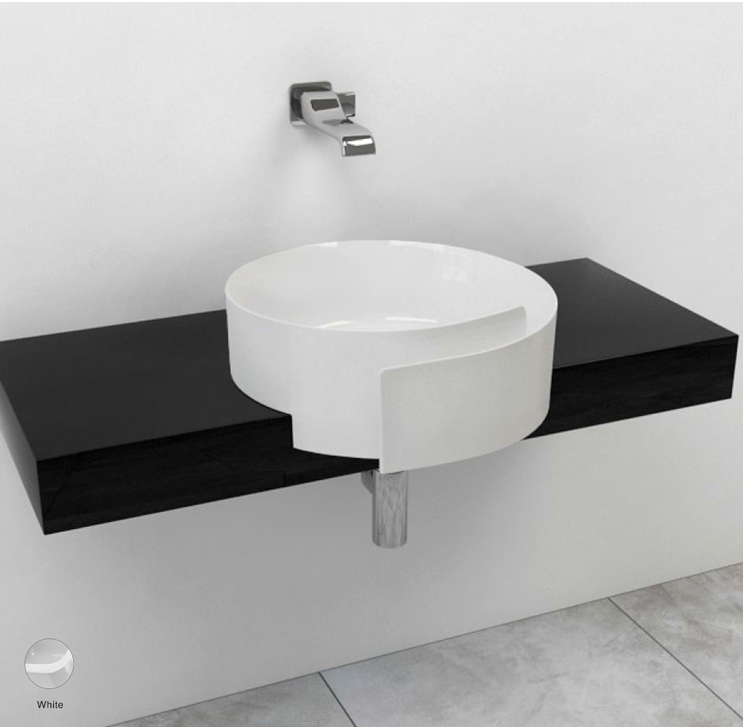 Roll Shelf from 80 to 250 x 40 x h 10 cm, for Roll 44 semi-inset basin White