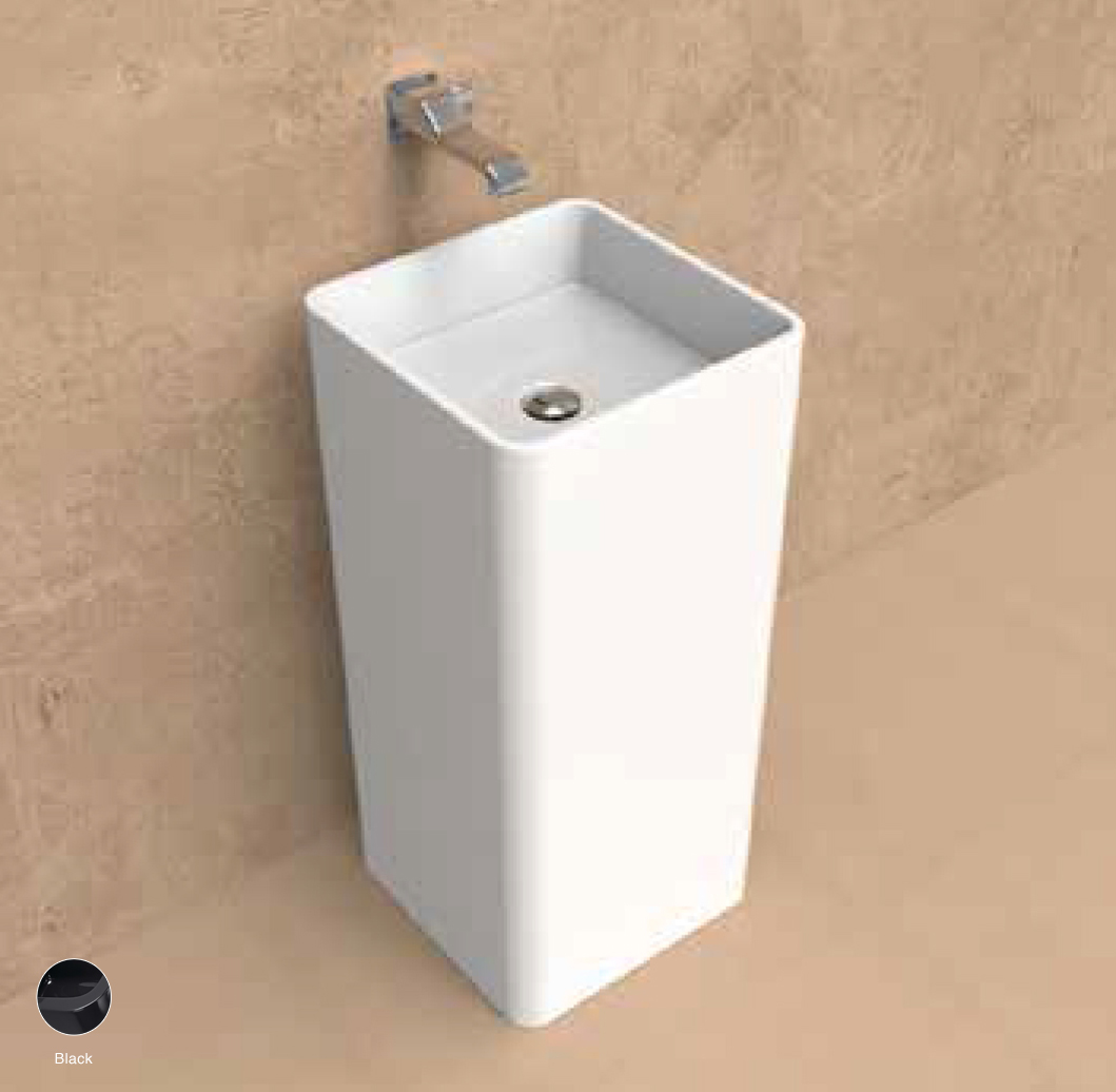 Monowash Wall column-basin 40 cm Black