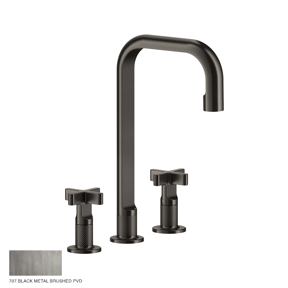 Inciso+ Three-hole Basin Mixer with spout and pop-up waste 707 Black Metal Brush