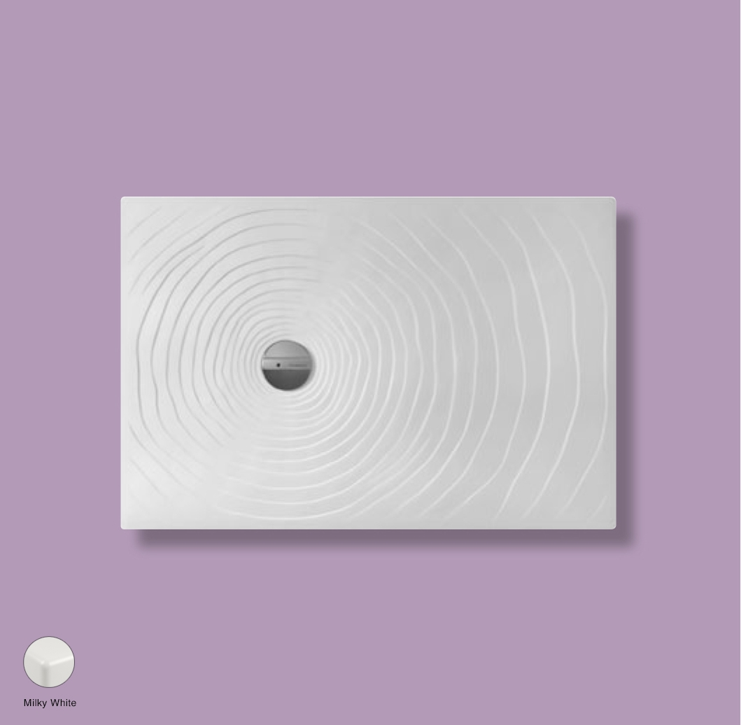 Water Drop Laid on or built-in reversible shower tray 120x80 cm Milky White