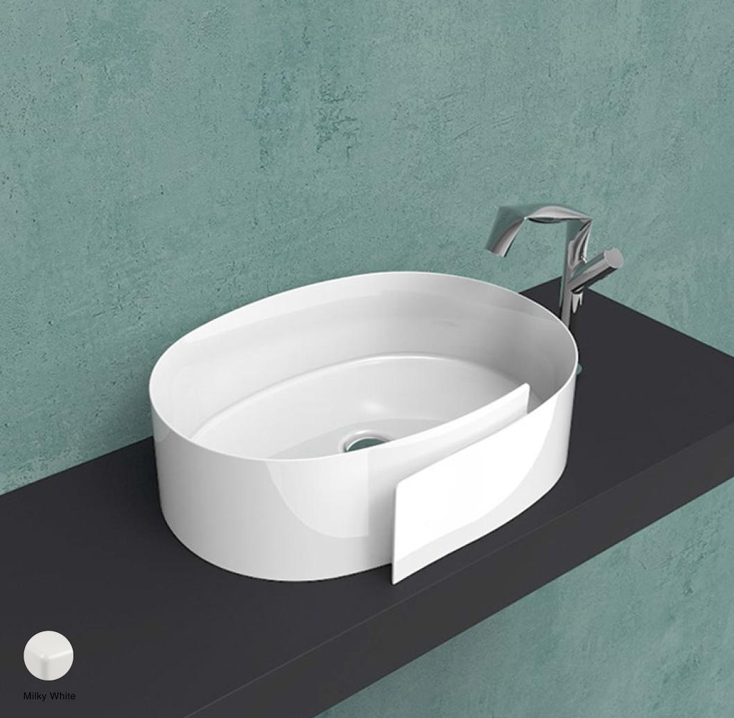 Roll Countertop basin 56 cm without overflow, without tap ledge Milky White