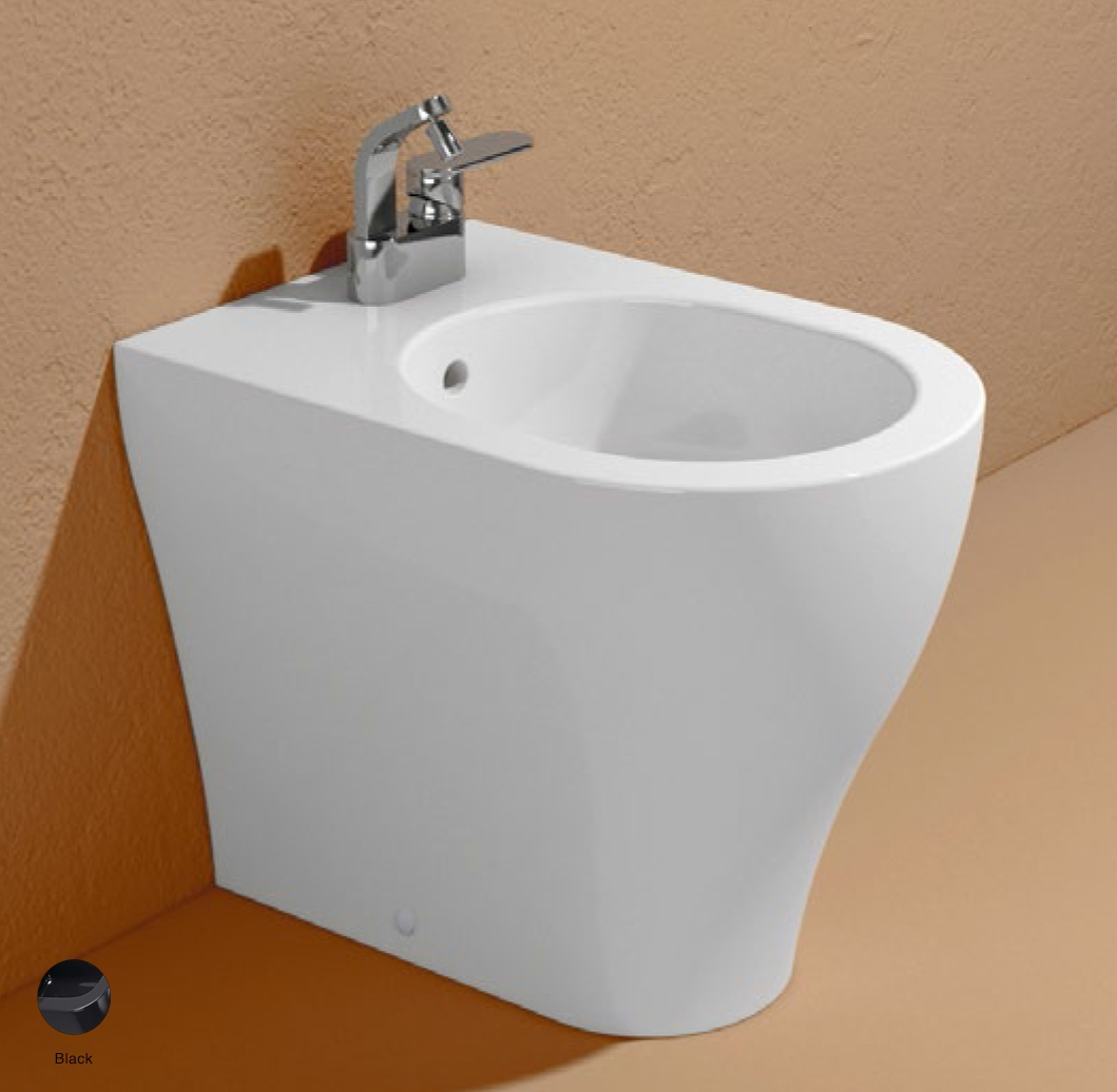 App Back to wall single-hole bidet with overflow, without tap hole Black