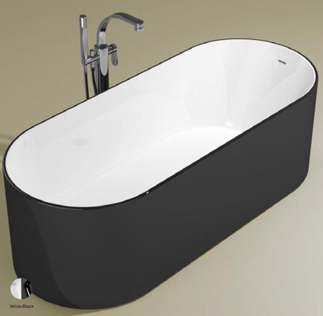 Oval Bath-tub 170 cm in Pietraluce BICOLOR White/Black