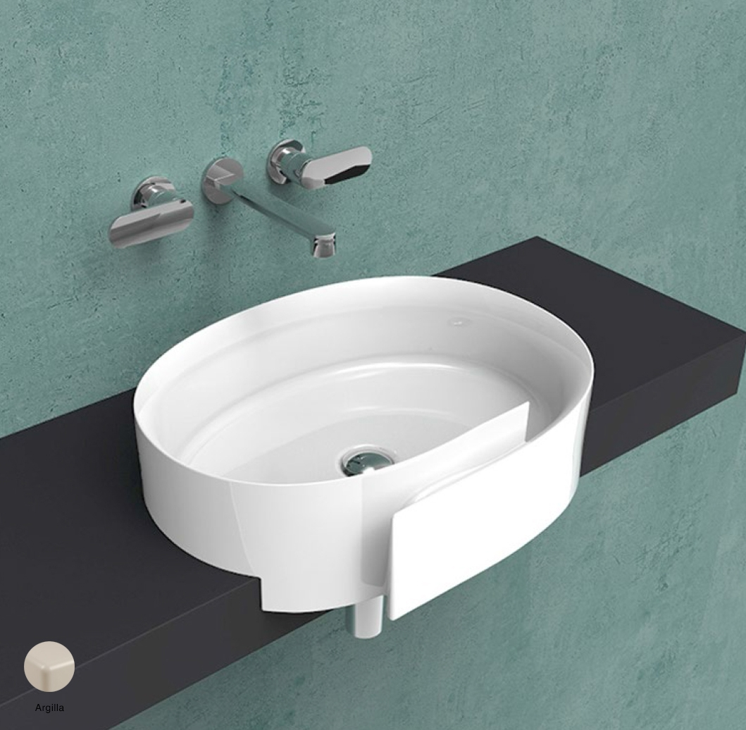 Roll Semi-inset basin 56 cm without overflow, without tap ledge Argilla