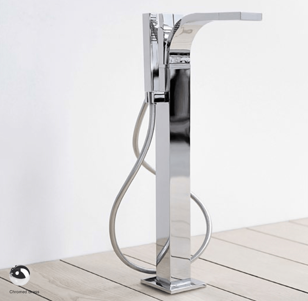 SI Free-standing bath mixer with spout and handshower Chrome