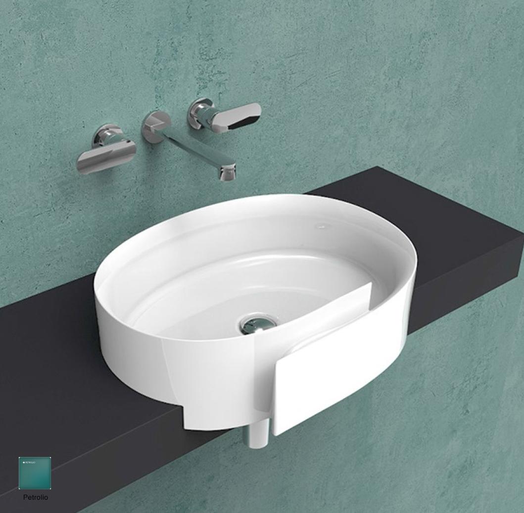 Roll Semi-inset basin 56 cm without overflow, without tap ledge Petrolio