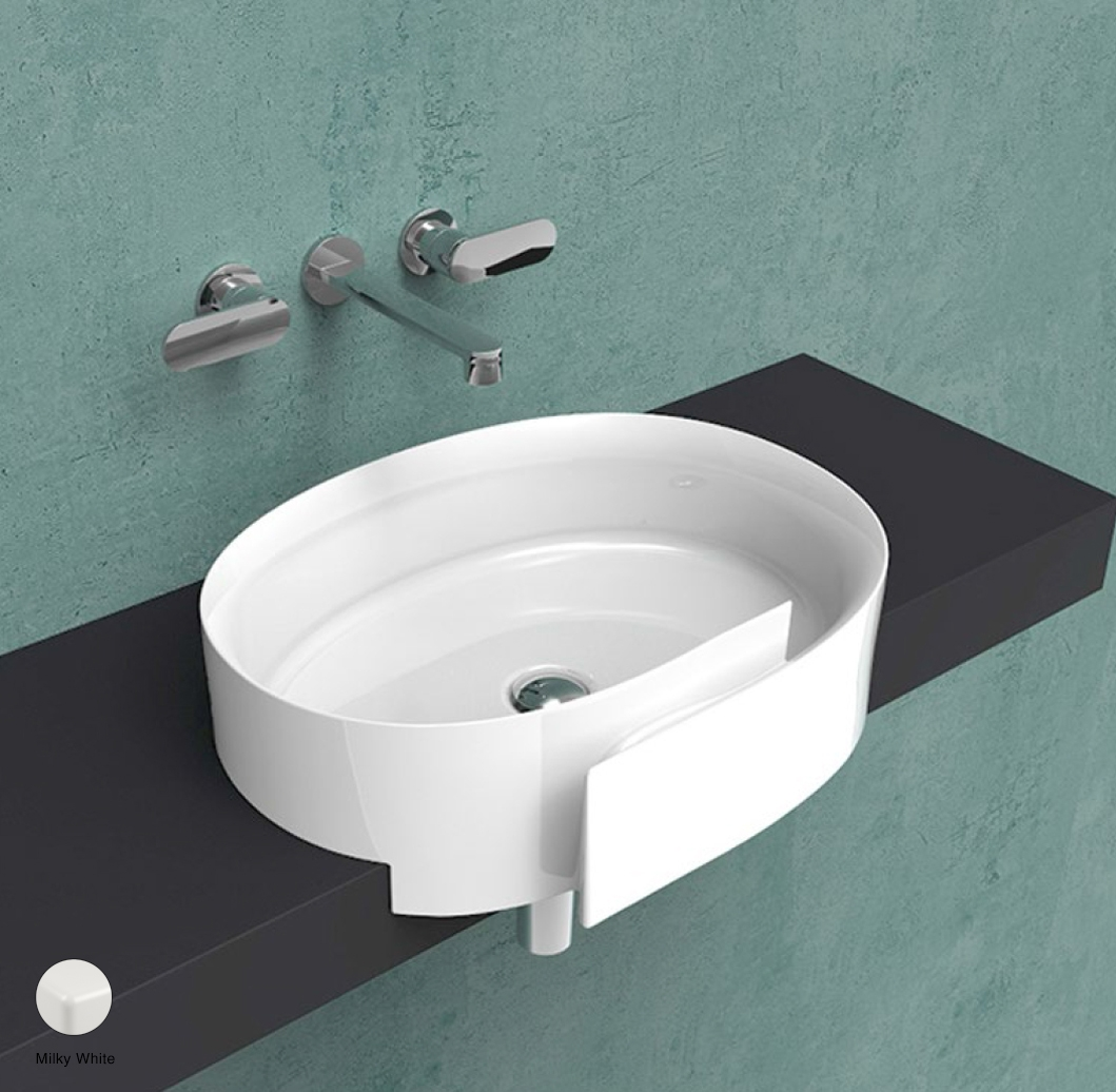 Roll Semi-inset basin 56 cm without overflow, without tap ledge Milky White