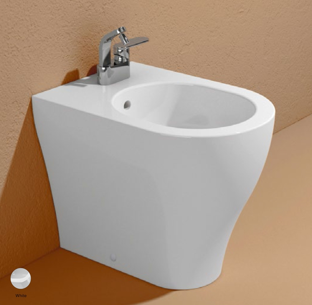 App Back to wall single-hole bidet with overflow, without tap hole White