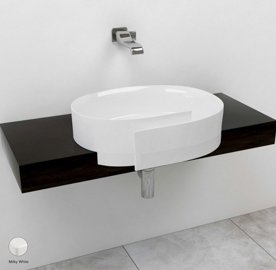 Roll Shelf 80 to 250 x 40 x h 10 cm, for Roll 56 semi-inset basin Milky White