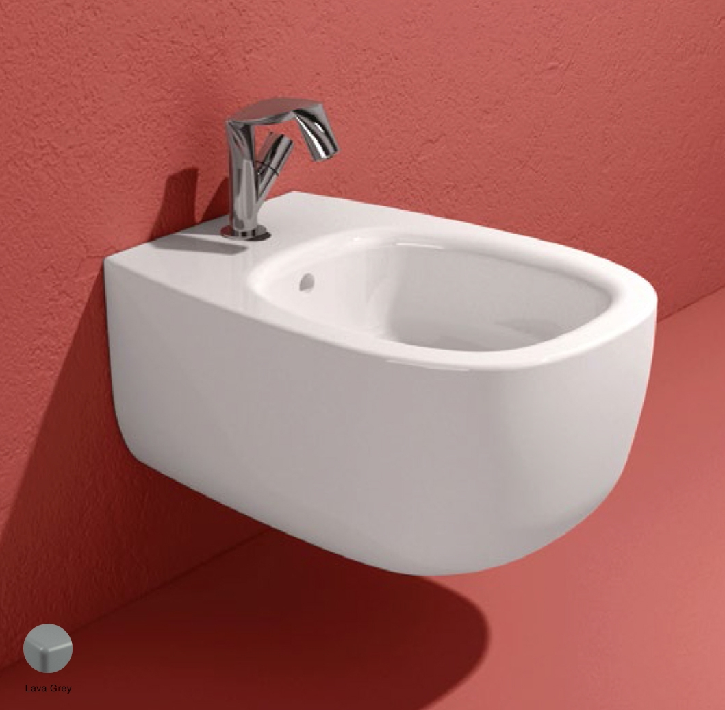 Bonola Wall hung single-hole bidet with overflow Lava Grey