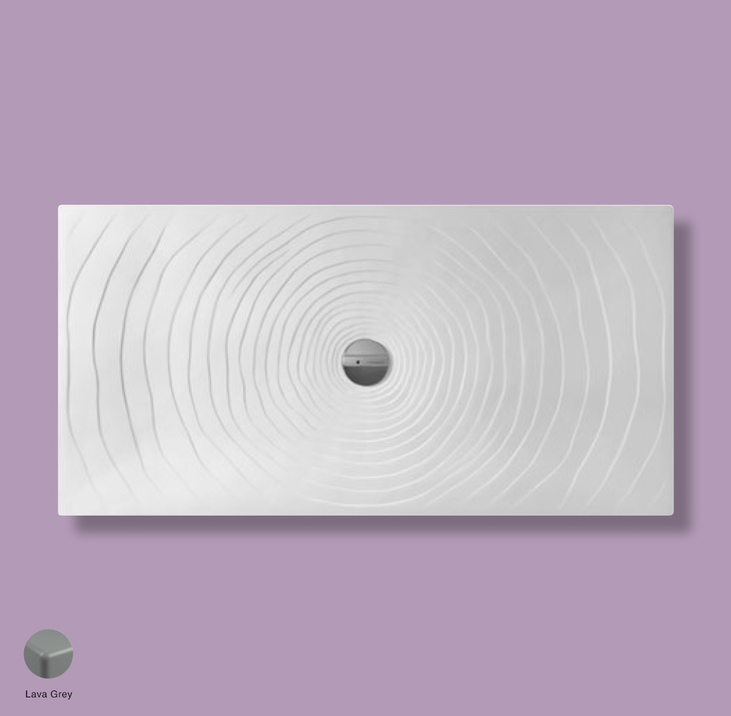Water Drop Laid on or built-in in the floor shower tray 160x80 cm Lava Grey