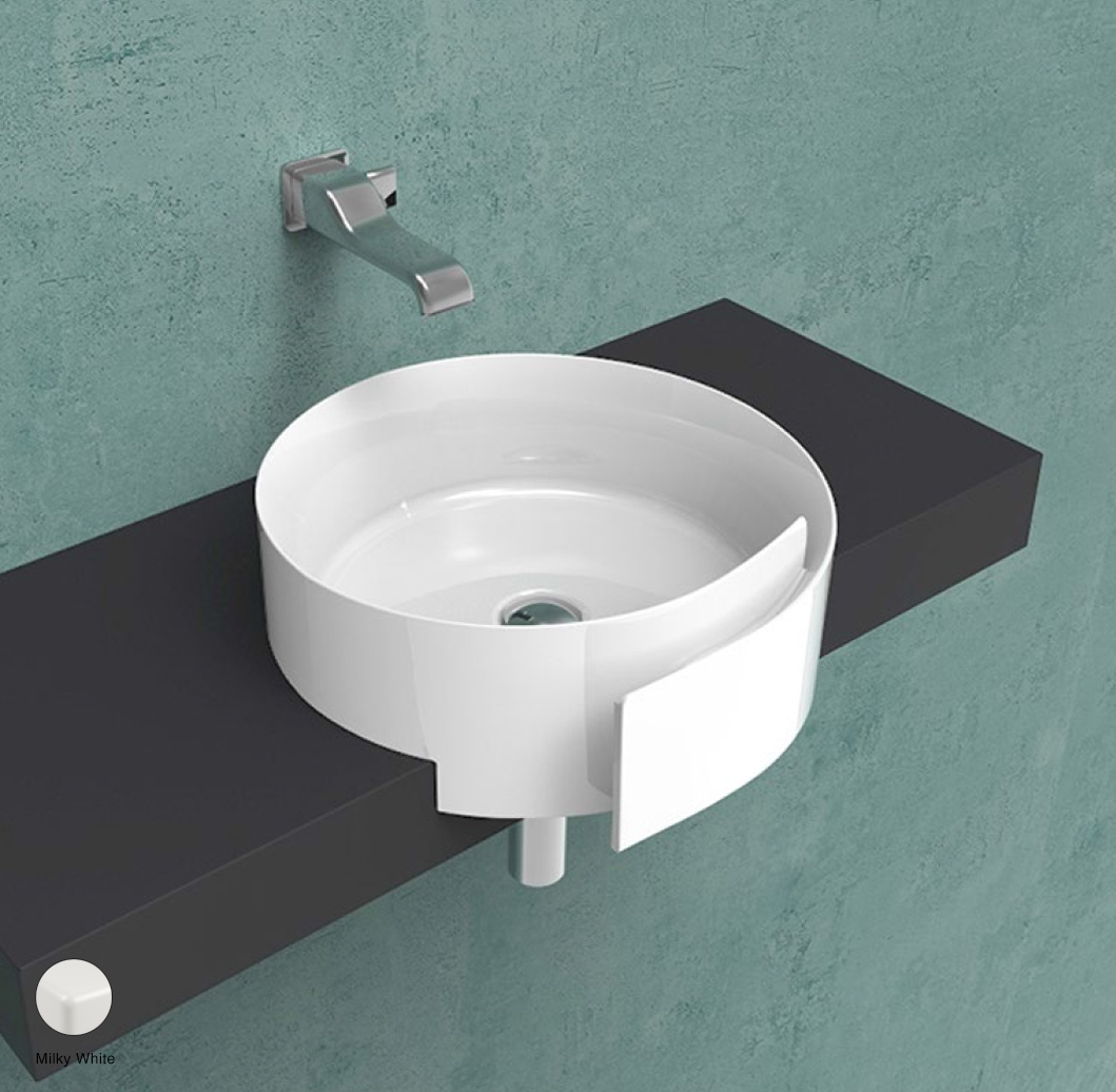 Roll Semi-inset basin 44 cm without overflow, without tap ledge Milky White