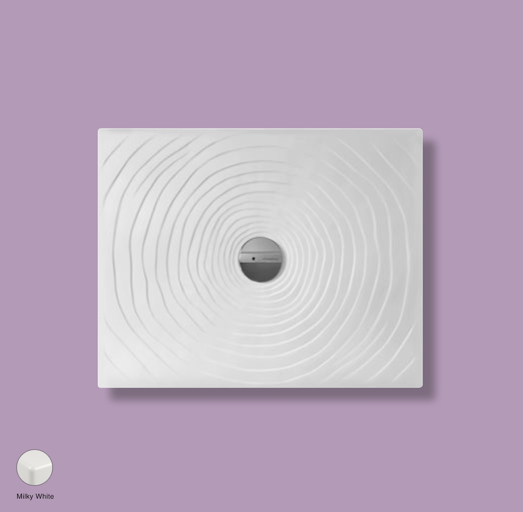 Water Drop Laid on or built-in in the floor shower tray 90x72 cm Milky White