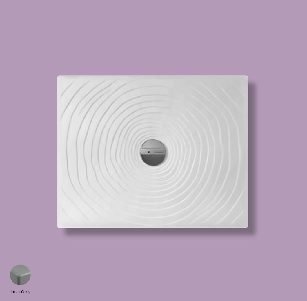 Water Drop Laid on or built-in in the floor shower tray 90x72 cm Lava Grey