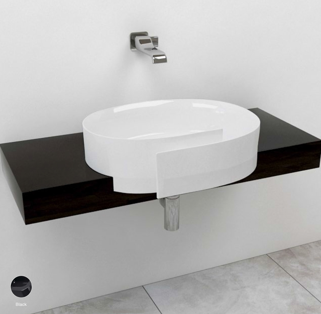 Roll Shelf from 80 to 250 x 40 x h 10 cm, for Roll 56 semi-inset basin Black