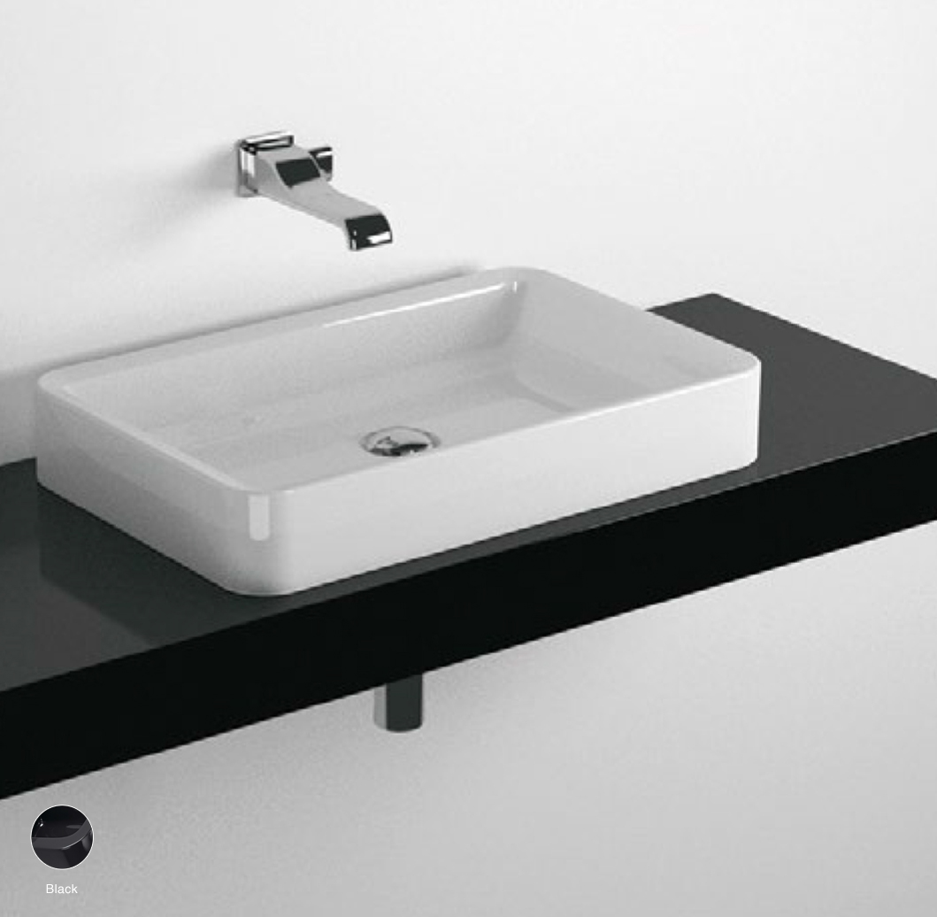 Nile Shelf from 80 to 250 x 46 x h 10 cm suitable for countertop basins Black
