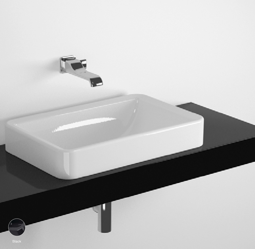 Nile Shelf from 80 to 250 x 46 x h 10 cm, for Nile 62 recessed basin Black