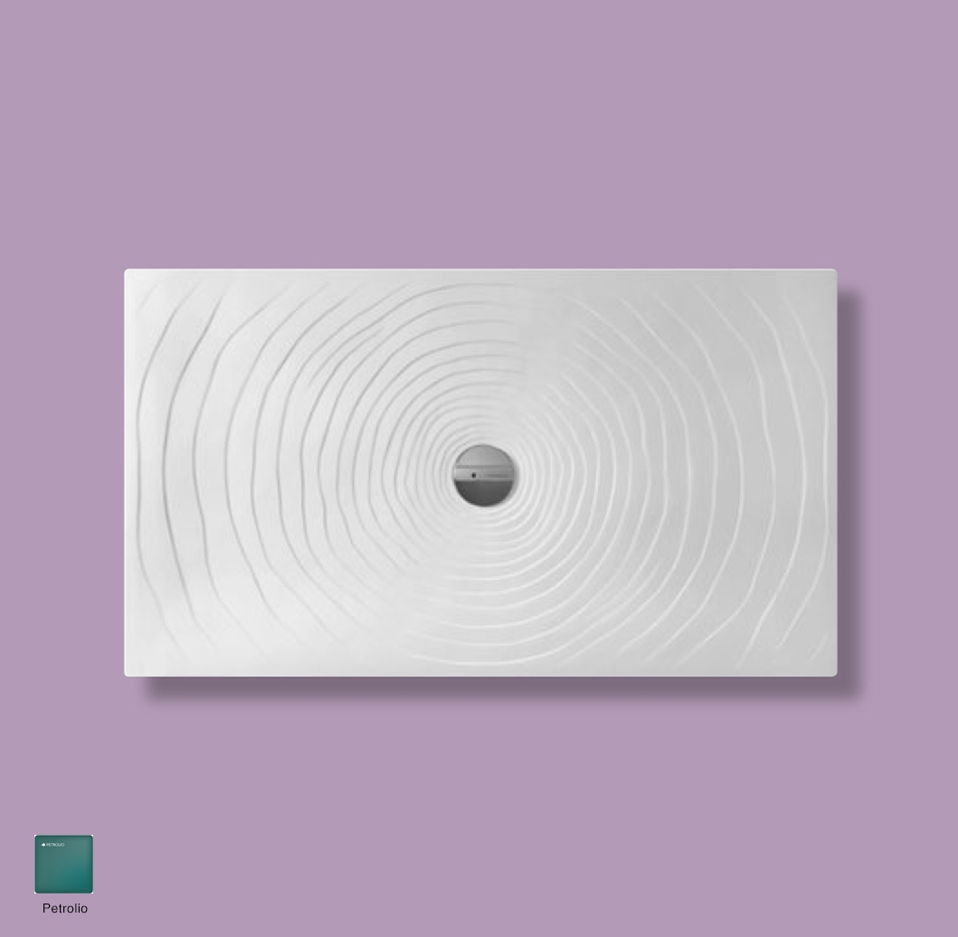 Water Drop Laid on or built-in in the floor shower tray 140x80 cm Petrolio